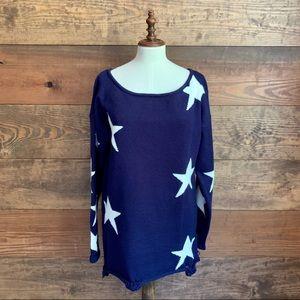 NWOT Amaryllis Navy Star Sweater